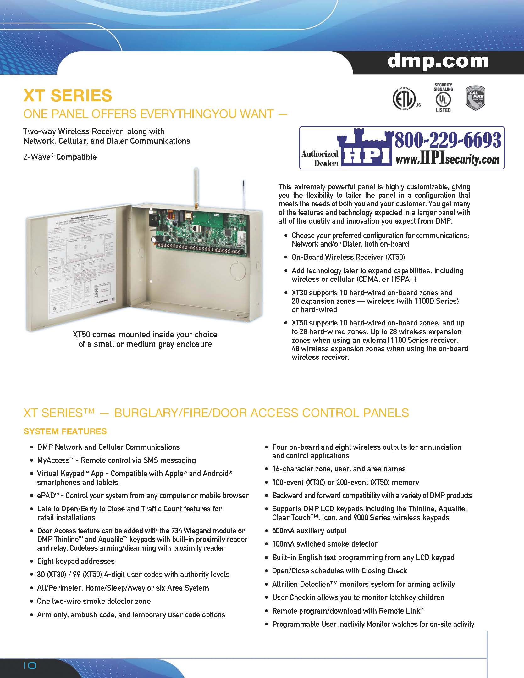 XT Series_Page_10 dmp xt series security alarm control hpi security alarms and dmp xt 50 wiring diagram at panicattacktreatment.co
